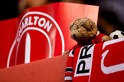 A teddy bear is propped up in the Charlton Athletic end of the Valley - Mandatory by-line: Robbie Stephenson/JMP - 17/05/2019 - FOOTBALL - The Valley - Charlton, London, England - Charlton Athletic v Doncaster Rovers - Sky Bet League One Play-off Semi-Final 2nd Leg
