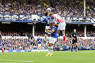 Mason Holgate of Everton (l) and Peter Crouch of Stoke City challenge for the ball. Premier league match, Everton v Stoke city at Goodison Park in Liverpool, Merseyside on Saturday 27th August 2016.<br /> pic by Chris Stading, Andrew Orchard sports photography.