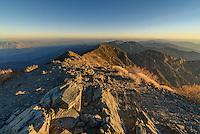The last light of the day illuminates the summit of the 11,049 feet high Telescope Peak in Death Valley National Park.