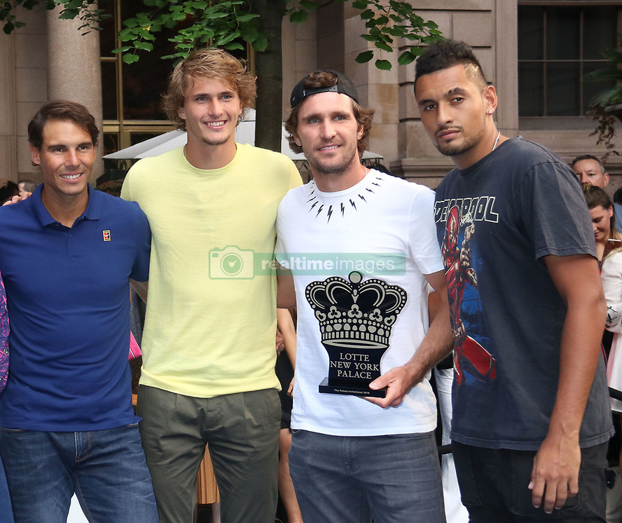 August 23, 2018 - New York City, New York, U.S. - Tennis players RAFAEL NADAL, ALEXANDER ZVEREV, MISCHA ZVEREV and NICK KYRGIOS attend the 2018 Lotte Palace Invitational Badminton Tournament held at the Lotte New York Palace. (Credit Image: © Nancy Kaszerman via ZUMA Wire)