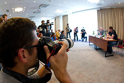 Photographers at presentation of Eurobasket Slovenia 2013, on September 8, 2011, in Hotel Novotel,  Vilnius, Lithuania.   (Photo by Vid Ponikvar / Sportida)