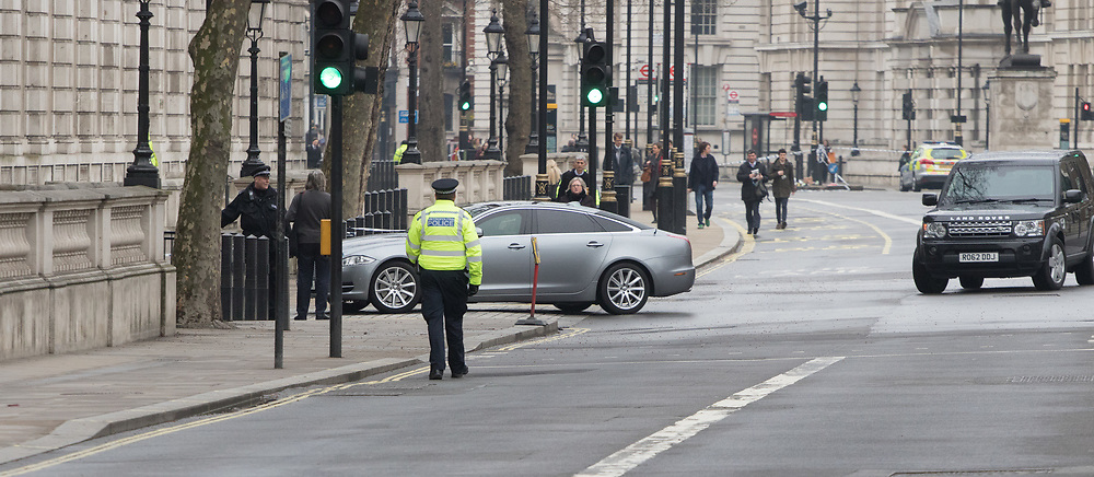 Scotland Yard, London, March 23rd 2017. The Prime Minister's car enters Downing Street following Tuesday's terrorist attack on Westminster Bridge and in the grounds of Parliament, in which four people and their attacker were killed with over 40 injured.