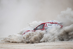AREQUIPA, Jan. 11, 2019  Spanish driver Cristina Gutierrez Herrero and co-driver Pablo Moreno Huete compete during the 4th stage of the 2019 Dakar Rally Race, near La Joya, Arequipa province, Peru, on Jan. 10, 2019. Cristina Gutierrez Herrero and Pablo Moreno Huete finished the 4th stage with 5 hours and 42 seconds. (Credit Image: © Xinhua via ZUMA Wire)