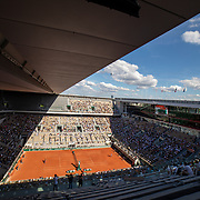 PARIS, FRANCE June 11. A general view of Stefanos Tsitsipas of Greece in action against Alexander Zverev of Germany on Court Philippe-Chatrier during the semi finals of the singles competition at the 2021 French Open Tennis Tournament at Roland Garros on June 11th 2021 in Paris, France. (Photo by Tim Clayton/Corbis via Getty Images)