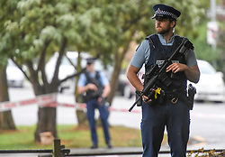 CHRISTCHURCH, March 17, 2019  Policemen stand gurard near a mosque in Christchurch, New Zealand, on March 17, 2019. The death toll from the terror attacks on two mosques in New Zealand's Christchurch has risen to 50 as one more victim was found at one of the shooting scenes, the police said on Sunday. (Credit Image: © Xinhua via ZUMA Wire)