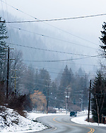 A wintery day on the Balfour-Kaslo-Galena Bay highway, British Columbia