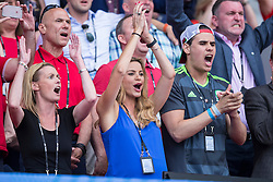 PARIS, FRANCE - Saturday, June 25, 2016: SKY TV Presenter Charlotte Jackson, wife of Wales manager Chris Coleman applauds during the Round of 16 UEFA Euro 2016 Championship match against Northern Ireland at the Parc des Princes. (Pic by Paul Greenwood/Propaganda)