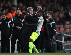 FC Koln's Jhon Cordoba celebrates scoring his side's first goal of the game during the Europa League match at the Emirates Stadium, London.