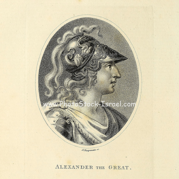Portrait of Alexander III of Macedon or Alexander the Great Copperplate engraving From the Encyclopaedia Londinensis or, Universal dictionary of arts, sciences, and literature; Volume I;  Edited by Wilkes, John. Published in London in 1810