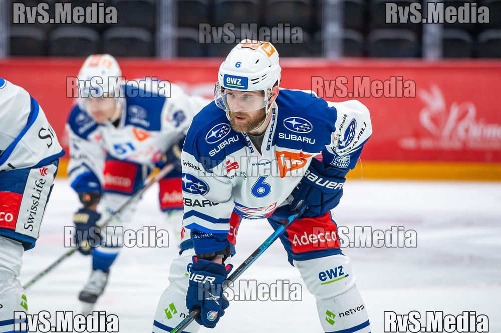 LAUSANNE, SWITZERLAND - OCTOBER 01: Yannick Weber #6 of ZSC Lions looks on during the Swiss National League game between Lausanne HC and ZSC Lions at Vaudoise Arena on October 1, 2021 in Lausanne, Switzerland. (Photo by Monika Majer/RvS.Media)