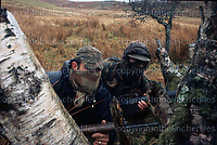 British SAS soldiers seen on training exercises in the Brecon Beacons, Wales in 1970. Note the L1A1 SLR. Photographed by Terry Fincher