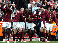 Photo: Ed Godden.<br />Arsenal v Aston Villa. The Barclays Premiership. 01/04/2006. Arsenal players celebrate their 5th goal.