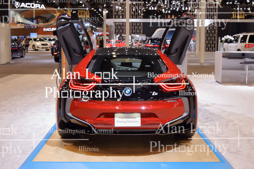 09 February 2017:BMW Electric i8 AWD<br /> <br /> First staged in 1901, the Chicago Auto Show is the largest auto show in North America and has been held more times than any other auto exposition on the continent.  It has been  presented by the Chicago Automobile Trade Association (CATA) since 1935.  It is held at McCormick Place, Chicago Illinois<br /> #CAS17