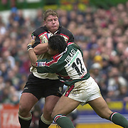 Leicester, Leicestershire, 3rd May 2003, Welford Road Stadium, [Mandatory Credit: Peter Spurrier/Intersport Images],Zurich Premiership Rugby - Leicester Tigers v London Irish<br /> Neal Hatley on the run Freddie Tuilagi tackling for the Tigers