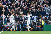 Real Madrid Cristiano Ronaldo and Marco Asensio celebrating a goal during Eight Finals Champions League match between Real Madrid and PSG at Santiago Bernabeu Stadium in Madrid , Spain. February 14, 2018. (ALTERPHOTOS/Borja B.Hojas)