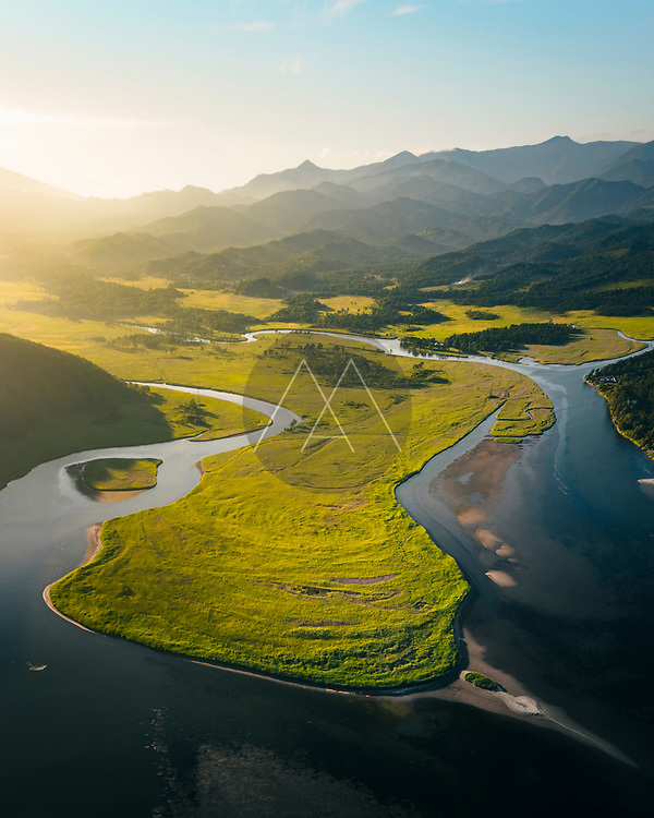 Aerial view of river before sunset near Nakhodka, Russia.