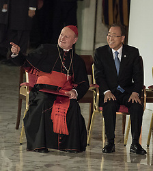 October 5, 2016 - Vatican City, Vatican - Cardinal Gianfranco Ravasi (L) and U.N. Secretary General Ban Ki-moon (R) attend the International conference ''Sport at the Service of Humanity'', the first global conference on faith and sport promoted by the Vatican Pontifical Council for Culture, in the Paul VI hall in Vatican City, Vatican on October 05, 2016. (Credit Image: © Giuseppe Ciccia/Pacific Press via ZUMA Wire)