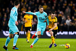 Diogo Jota of Wolverhampton Wanderers takes on Florian Lejeune of Newcastle United - Mandatory by-line: Robbie Stephenson/JMP - 11/02/2019 - FOOTBALL - Molineux - Wolverhampton, England - Wolverhampton Wanderers v Newcastle United - Premier League