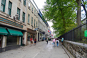 Along Rue Sainte-Ann next to Holy Trinity Catholic Church, Quebec, Canada.