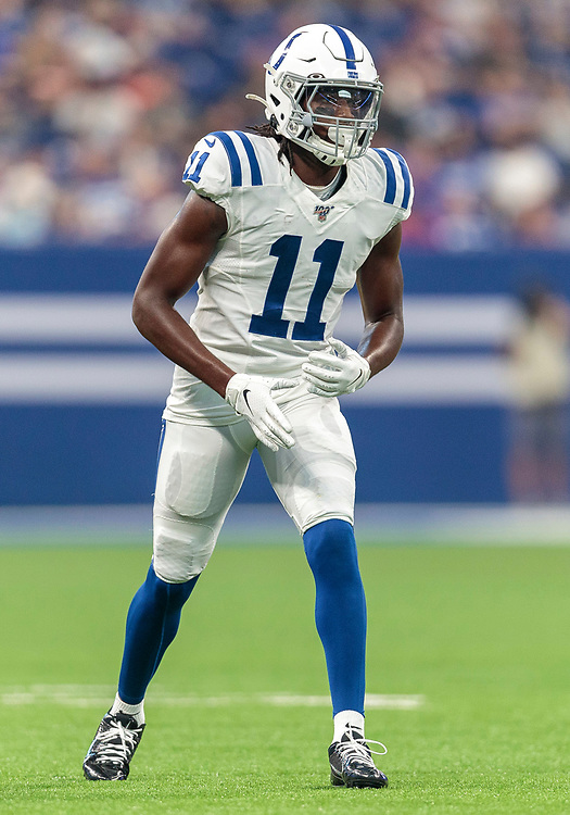 August 17, 2019:  Indianapolis Colts wide receiver Deon Cain (11) during NFL football preseason game action between the Cleveland Browns and the Indianapolis Colts at Lucas Oil Stadium in Indianapolis, Indiana.  Cleveland defeated Indianapolis 21-18.  John Mersits/CSM.