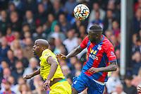 Football - 2021/2022  Premier League - Crystal Palace vs Brentford - Selhurst Park  - Saturday 21st August 2021.<br /> Cheikhou Kouyate (Crystal Palace) and Yoane Wissa (Brentford FC) at Selhurst Park.<br /> <br /> COLORSPORT/DANIEL BEARHAM