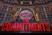 Roddy Doyle's The Commitments at London's Palace Theatre at Cambridge Circus. Looking upwards from street level, we see the Victorian architecture of the theatre in the heart of the capital's Theatreland in the West End. The Commitments is a musical written by Roddy Doyle. Based on the novel of the same name, also written by Roddy Doyle, the musical made its West End and world premiere in 2013 at London's Palace Theatre. Richard D'Oyly Carte, producer of the Gilbert and Sullivan operas, commissioned the theatre in the late 1880s.