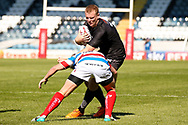 Bradford Bulls Ross Oakes (4) is tackled during the Kingstone Press Championship match between Rochdale Hornets and Bradford Bulls at Spotland, Rochdale, England on 18 June 2017. Photo by Simon Davies.