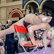 Lucinda & Suzie Sinfest - Fire Stunts performs at The Great British Tattoo Show, at Alexandra Palace, on 25 May 2019, London, UK.