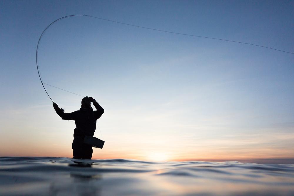 8 April 2018, Visby, Gotland, Sweden: Flyfishing with Fish Your Dream, Sweden. Here, Erik Sjödin.