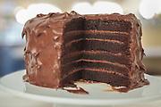 Homemade six layer chocolate birthday cake