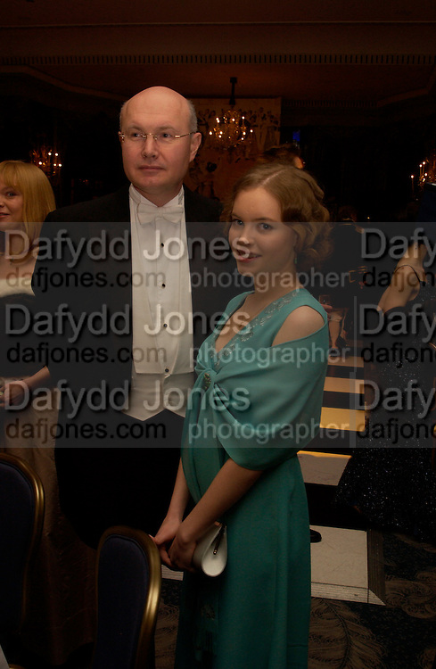 Vladimir Razuhova and Miss Anastasia Razuhova. 15th War and Peace Ball in commemoration of the 175 anniversary of Leo Tolstoy, Dorchester, 19 February 2004. ONE TIME USE ONLY - DO NOT ARCHIVE  © Copyright Photograph by Dafydd Jones 66 Stockwell Park Rd. London SW9 0DA Tel 020 7733 0108 www.dafjones.com