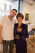 JASON BRADBURY; LADY SANDRA BATES, Lady  Sandra Bates and Jason Bradbury host 'Lust' a mixed exhibition. La Galleria. Pall Mall.  London 3 September 2013.