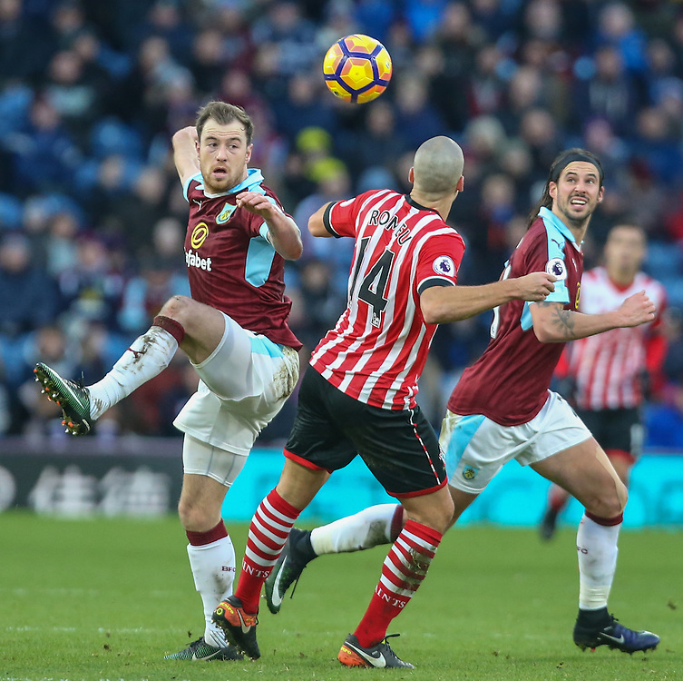 Burnley's Ashley Barnes battles with Southampton's Oriol Romeu<br /> <br /> Photographer Alex Dodd/CameraSport<br /> <br /> The Premier League - Burnley v Southampton - Saturday 14th January 2017 - Turf Moor - Burnley<br /> <br /> World Copyright © 2017 CameraSport. All rights reserved. 43 Linden Ave. Countesthorpe. Leicester. England. LE8 5PG - Tel: +44 (0) 116 277 4147 - admin@camerasport.com - www.camerasport.com