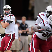 South Carolina Gamecocks quarterback Dylan Thompson (17) during an NCAA football game between the South Carolina Gamecocks and the Central Florida Knights at Bright House Networks Stadium on Saturday, September 28, 2013 in Orlando, Florida. Thompson replaced starting quarterback Connor Shaw who was injured in the first quarter. (AP Photo/Alex Menendez)