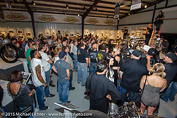 The Naked Truth exhibition's industry party at the Buffalo Chip gallery during the 75th Annual Sturgis Black Hills Motorcycle Rally.  SD, USA.  August 5, 2015.  Photography ©2015 Michael Lichter.