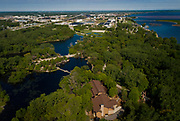 GREEN BAY, WISCONSIN - MAY 29, 2020: An aerial image of the Bay Beach Wildlife Sanctuary in Green Bay, Wisconsin on Friday, May 29, 2020. Replacing boards along the sanctuary's floating boardwalk is one of many public works projects that the City of Green Bay has proposed to utilize a piece the roughly $2 trillion federal stimulus package at a local level. CREDIT: Ben Brewer for the New York Times