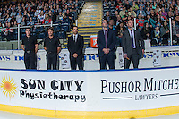 KELOWNA, CANADA - SEPTEMBER 24: Equipment manager Chadyn Johnson, athletic therapist Scott Hoyer, assistant coach Travis Cricked, assistant coach Kris Mallette and head coach Jason Smith stand on the bench against the Kamloops Blazers on September 24, 2016 at Prospera Place in Kelowna, British Columbia, Canada.  (Photo by Marissa Baecker/Shoot the Breeze)  *** Local Caption *** Chadyn Johnson; Scott Hoyer; Travis Cricked; Kris Mallette; Jason Smith;