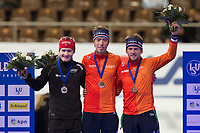 Skøyter , 6. desember 2014, ISU World Cup, seizoen 2014-2015, Sportforum Berlin, 06-12-2014, podium 5000m heren, Sverre Lunde Pedersen (l), Jorrit Bergsma (m) en Douwe de Vries (r)<br /> Norway only