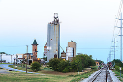 Railroad tracks running past B&D Mills and downtown, Grapevine, Texas USA