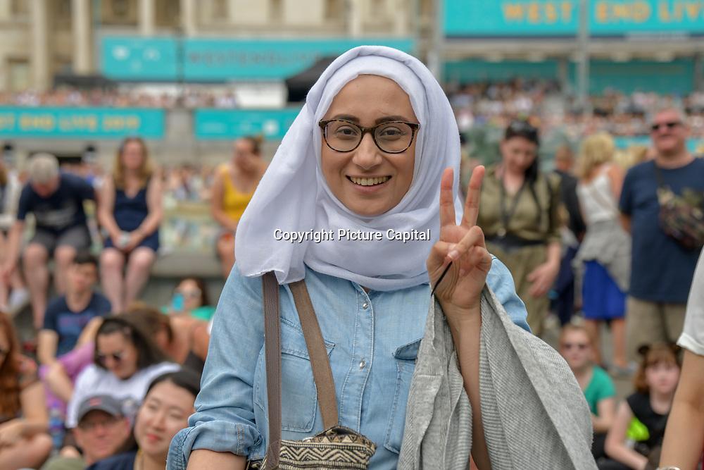 Women wearing hijab at West End Live 2019 - Day 2 in Trafalgar Square, on 23 June 2019, London, UK.