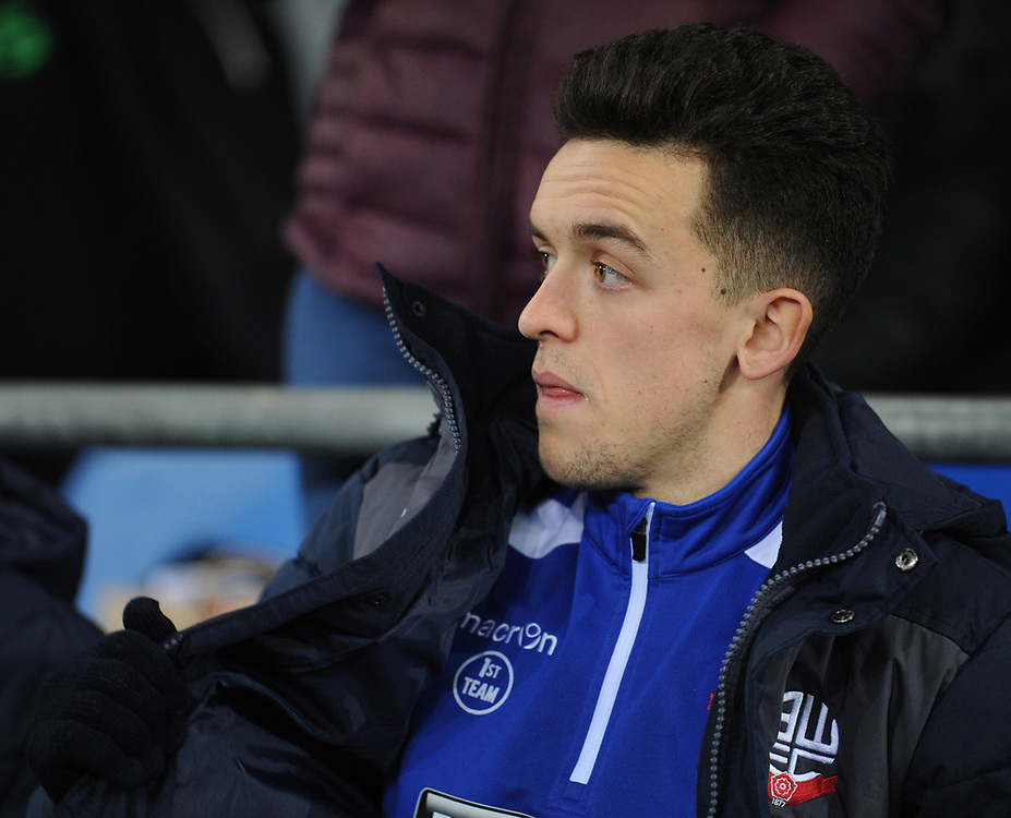 Bolton Wanderers' Zach Clough<br /> <br /> Photographer Kevin Barnes/CameraSport<br /> <br /> The EFL Sky Bet Championship - Cardiff City v Bolton Wanderers - Tuesday 13th February 2018 - Cardiff City Stadium - Cardiff<br /> <br /> World Copyright © 2018 CameraSport. All rights reserved. 43 Linden Ave. Countesthorpe. Leicester. England. LE8 5PG - Tel: +44 (0) 116 277 4147 - admin@camerasport.com - www.camerasport.com