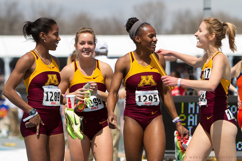 University of Minnesota in the Distance Medley Relay Saturday, April 27, 2013, during the Drake Relays in Des Moines.<br /> Photo by Scott Morgan 2013