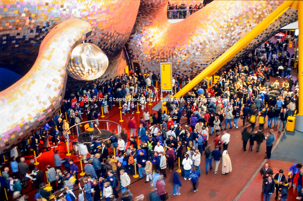 Visitors queue for the The Body Zone exhibit inside the Millennium Dome, Greenwich, London, England - 27 November 2000
