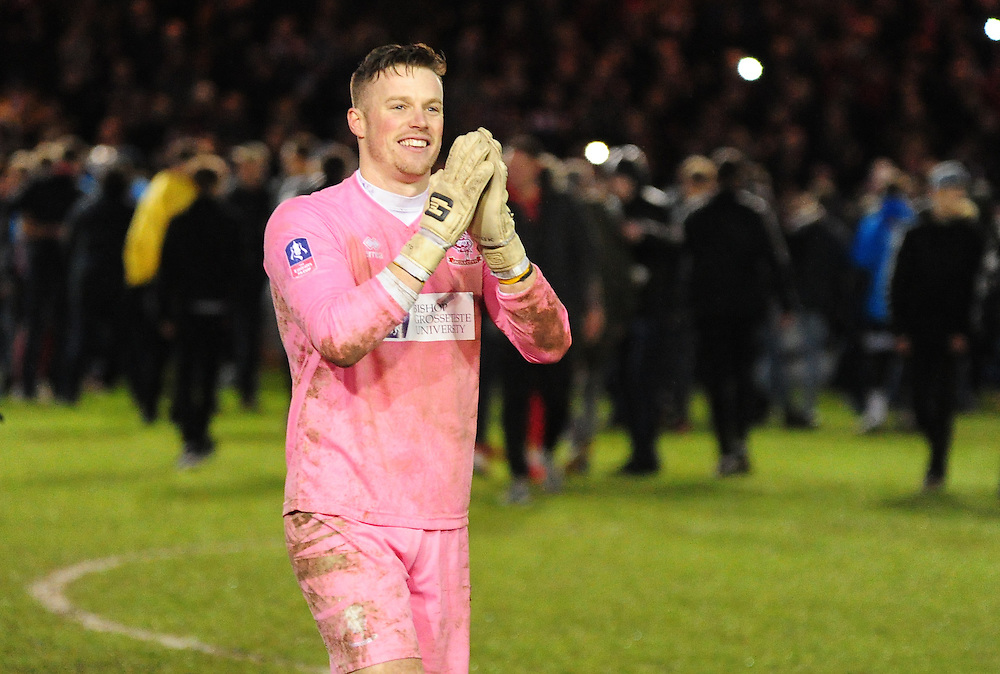 Lincoln City's Paul Farman applauds the fans after the final whistle<br /> <br /> Photographer Andrew Vaughan/CameraSport<br /> <br /> Emirates FA Cup Fourth Round - Lincoln City v Brighton & Hove Albion - Saturday 28th January 2017 - since Bank - Lincoln<br />  <br /> World Copyright © 2017 CameraSport. All rights reserved. 43 Linden Ave. Countesthorpe. Leicester. England. LE8 5PG - Tel: +44 (0) 116 277 4147 - admin@camerasport.com - www.camerasport.com