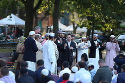 September 1, 2017 - Brooklyn, New York, United States - The Brooklyn Islamic Center, BIC, held its EID ul adha prayer outdoors, in a musallah, or outdoor prayer area set aside in Prospect Park. Along with thousands of the faithful, NYC Mayor Bill de Blasio, first lady Chirlane McCray and assembly member Felix Ortiz were on hand to wish their Muslim constituents a joyful Eid Mubarak! (Credit Image: © Andy Katz/Pacific Press via ZUMA Wire)