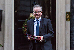London, December 18 2017. Secretary of State for Environment, Food and Rural Affairs Michael Gove leaves 10 Downing Street following a meeting of Prime Minister Theresa May's 'Brexit Cabinet'. © Paul Davey