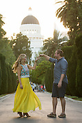 Nichole and Mat pose for their portrait during their Engagement Portrait Session near the California Capitol in Sacramento, California, on May 25, 2014. (Stan Olszewski/SOSKIphoto)