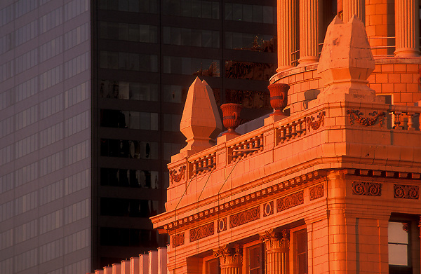 Stock photo of the detail of the  Niels Esperson Building in downtown Houston, Texas