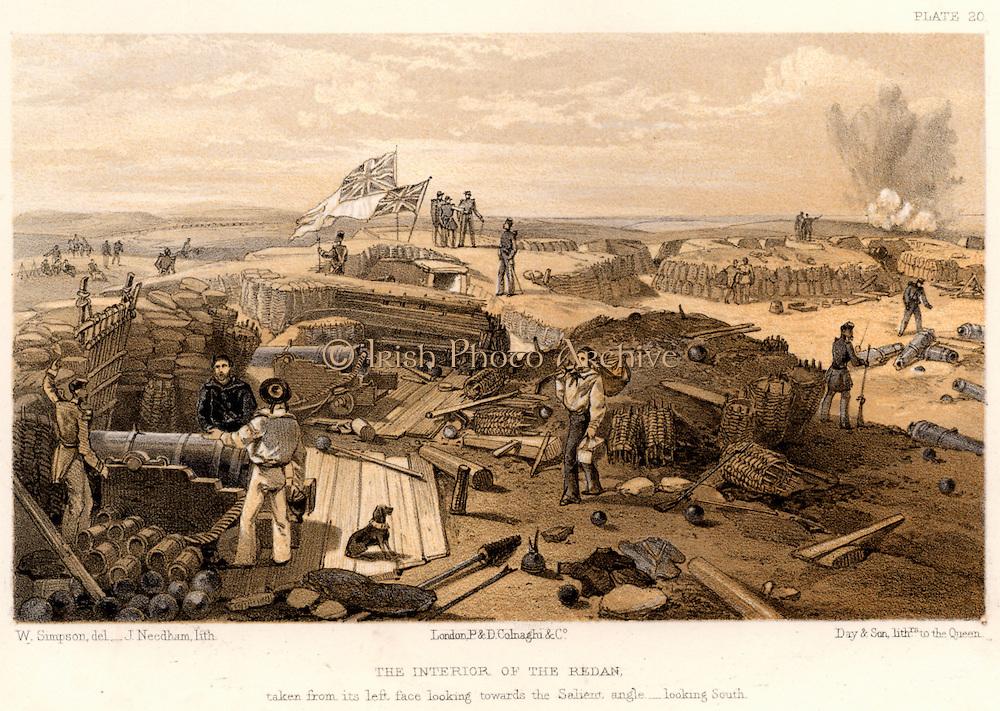 Crimean War (Russo-Turkish War) 1853-1856. Siege of Sebastopol, October 1854 to September 1855.  British troops inside the captured Redan. Tinted lithograph after William Simpson (1823-1899).