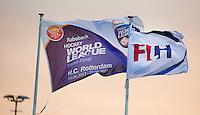 ROTTERDAM - HOCKEY - De vlaggen van de FIH en de World League  tijdens de wedstrijd tussen de mannen bvan Nederland en Nieuw Zeeland (3-3)  bij de Rabobank Hockey World League in Rotterdam. ANP KOEN SUYK